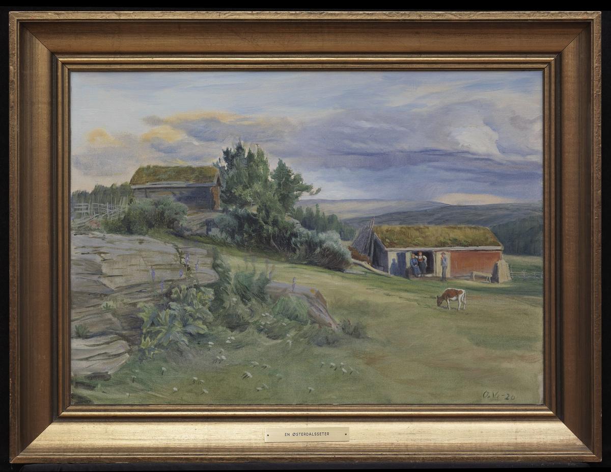 Fjellandskap, grønn voll m. knauser tilv., kalv, 2 hus, 2 kv. og mann utenfor d.e., lysblå og blåfiolett himmel