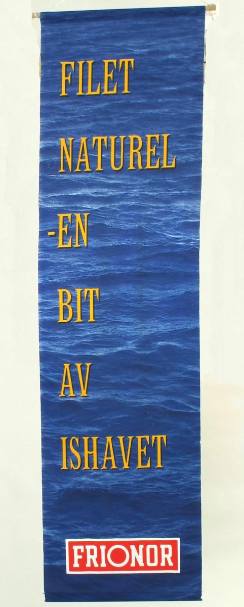Hav m. bølger som bakgrunn for tekst og logo