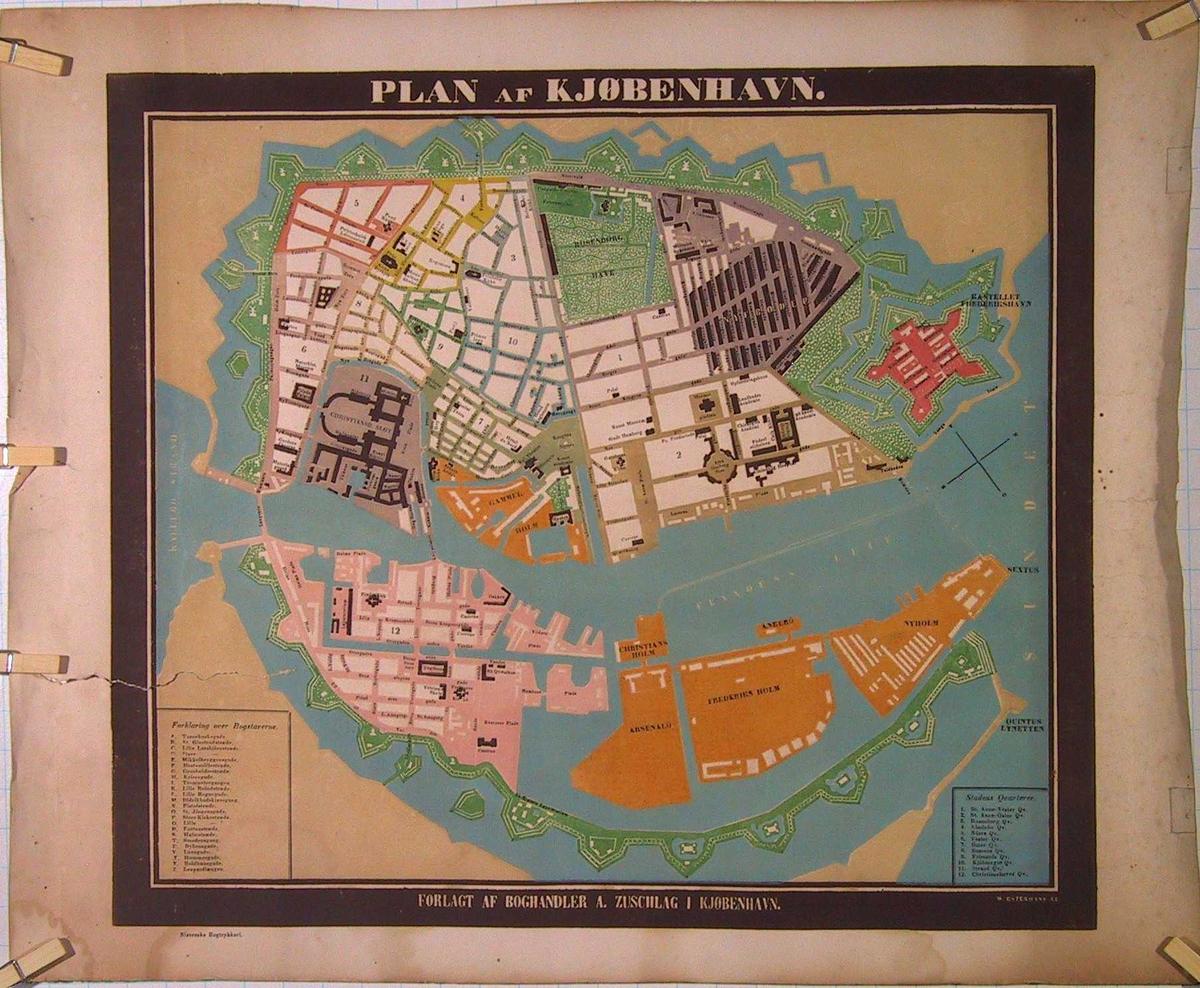 Kart over København, ca. 1850.