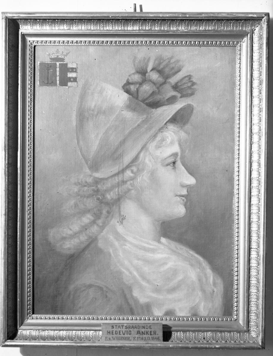Avbildet maleri. Statsraadinde Hedevig Anker 1763-1846.