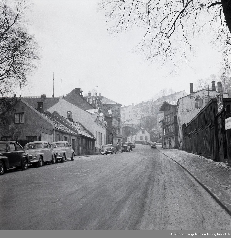 Parti av Ekebergveien,.desember 1957