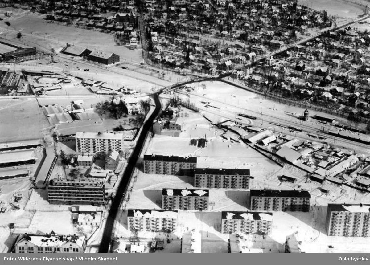 Grefsenveien, Grefsen videregående skole, Sandaker, Storo bru (Flyfoto)