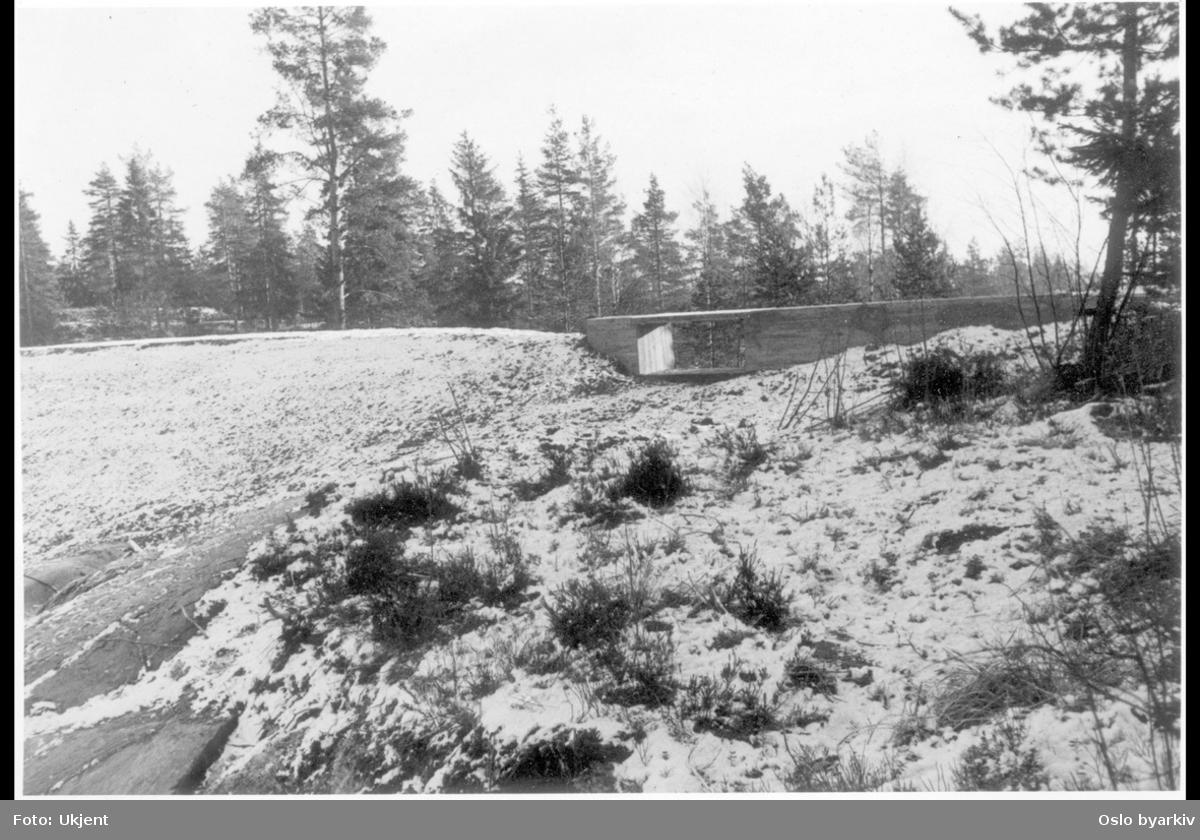 """Betongmur tilknyttet vestre del av demningen med gangvei over og vannløp under. (Jfr. bilde A-20145/Uav/0011/002). Albumtittel: """"VESLETJERN"""""""