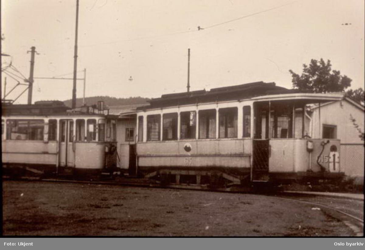 Oslo Sporveier. Trikk tilhenger 615 type HaWa linje 1 i sløyfa i Kristiansands gate.