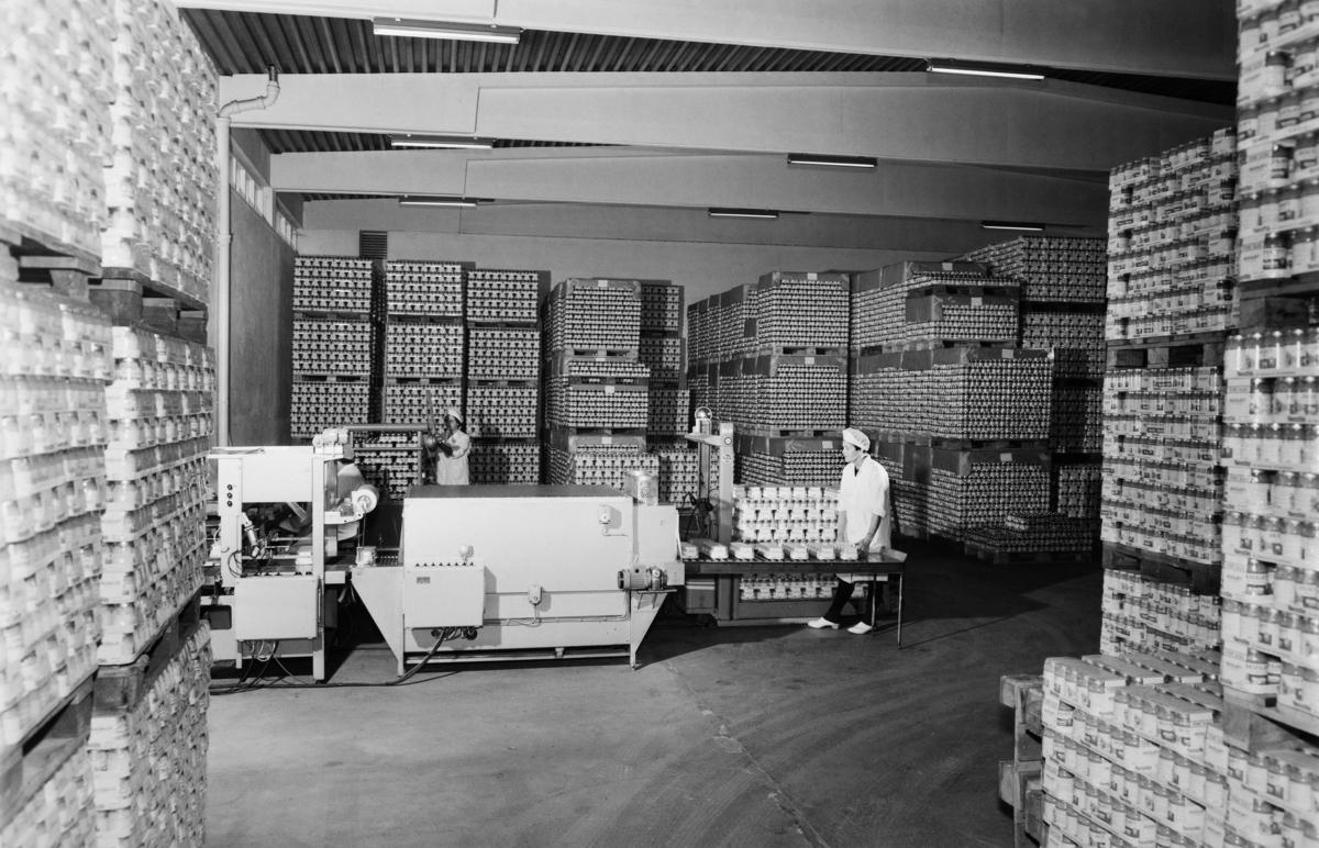 Nestle. Melkefabrikken. Pakking av barnemat ved fabrikken på Hamar i 1971.