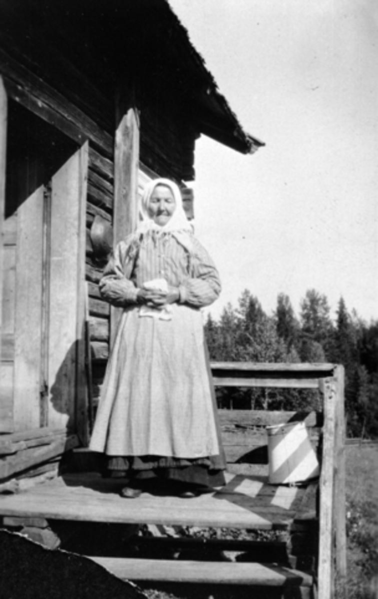 Dame med forkle og skaut, Kjersti Bekkesveen (1835 - 1927), Bekkesveen, Furnes, Ringsaker.