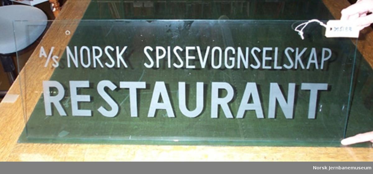"""Restaurantskilt : """"A/S NORSK SPISEVOGNSELSKAP RESTAURANT"""""""