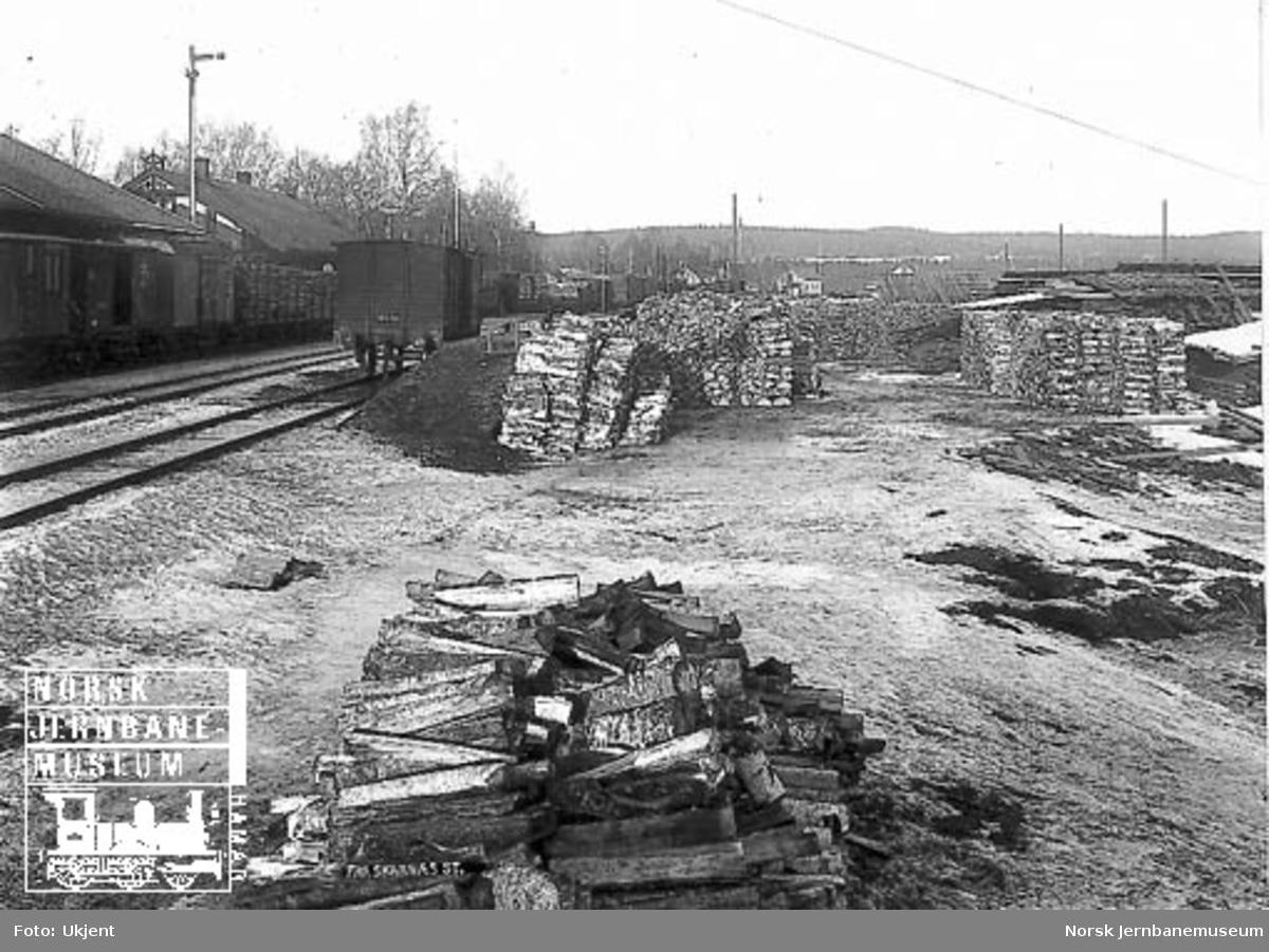 Vedlager på Skarnes stasjon : med godsvogner på stasjonen