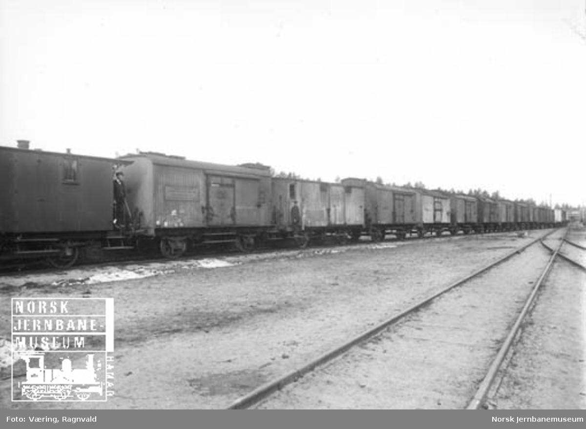 En lang rekke godsvogner, hovedsakelig kjølevogner, på en ukjent stasjon