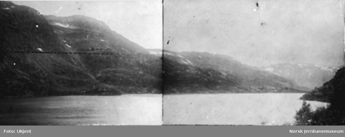 Panorama ved Seltuftvatnet; banen er tegnet inn med tusj