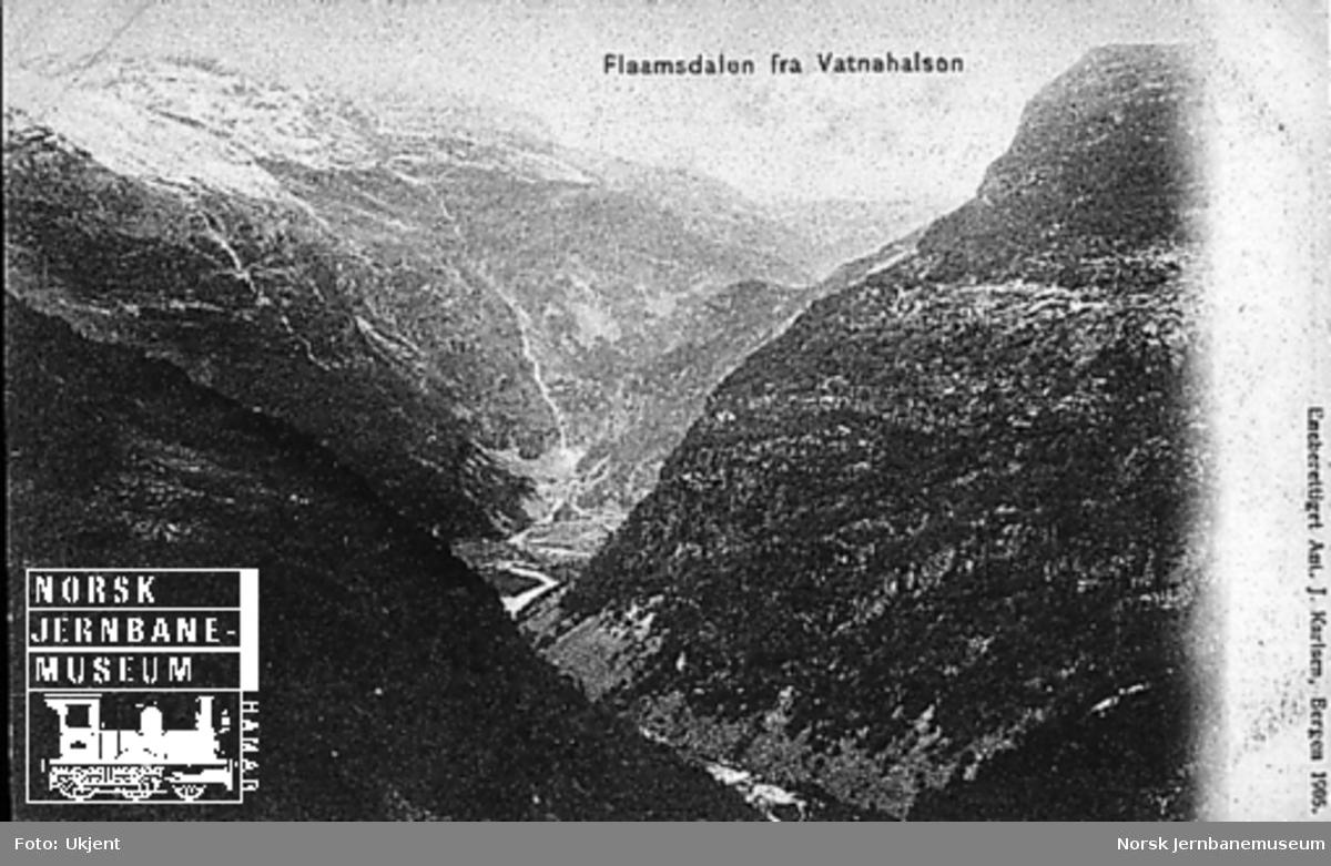 Utsikt mot Flåmsdalen fra Vatnahalsen