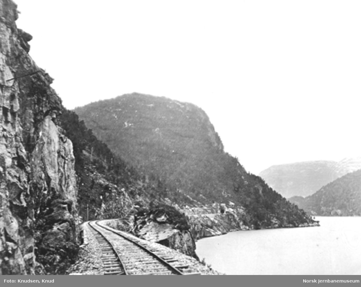 Parti fra Vossebanen; linjen mot Hyvingen tunnel