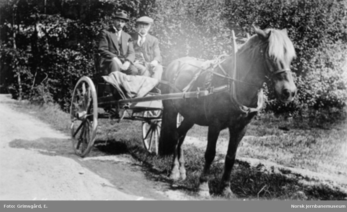 Paulsen og Grimsgård på lønningsreise med hest og vogn