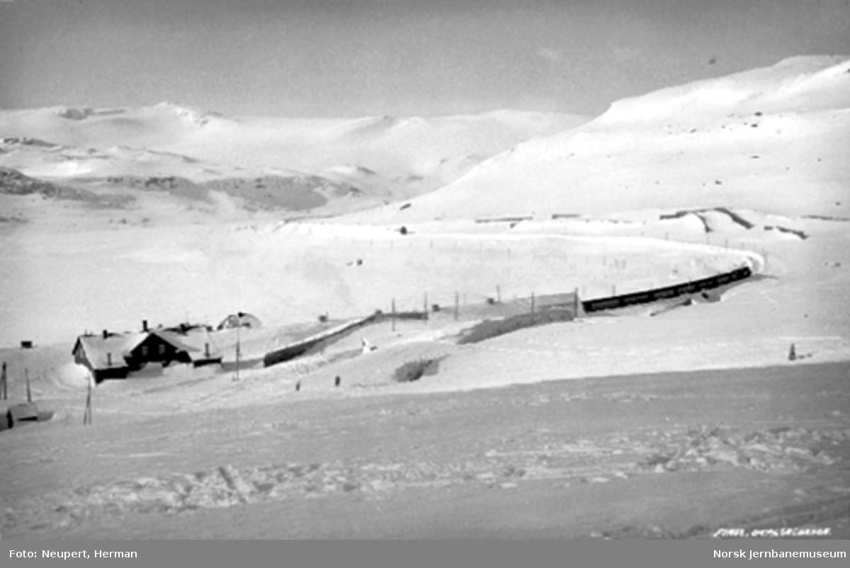 Oversiktsbilde over Finse, tog til Bergen er på vei ut fra stasjonen