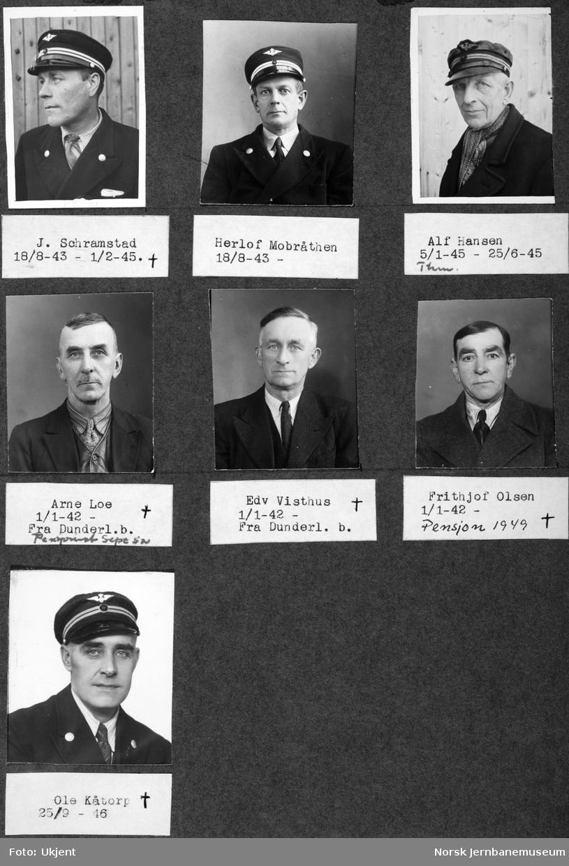Personalbilder fra Mo i Rana stasjon : lokomotivførerne Schramstad, Mobråthen, Hansen, Loe, Visthus, Olsen og Kåtorp