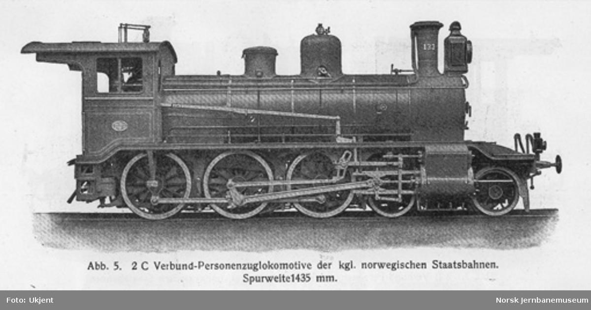 Leveransefoto av damplokomotiv type 18a nr. 133 for Gjøvikbanen fra Sächsische Maschinenfabrik; lokomotivet