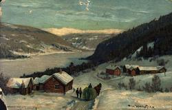 Postkort. Jule- og nyttårshilsen. Vintermotiv. Landskap. Hes