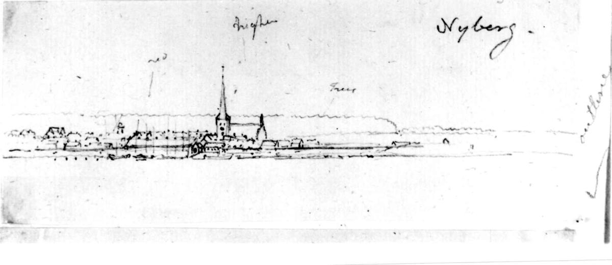 "NyborgFra skissealbum av John W. Edy, ""Drawings Norway 1800""."