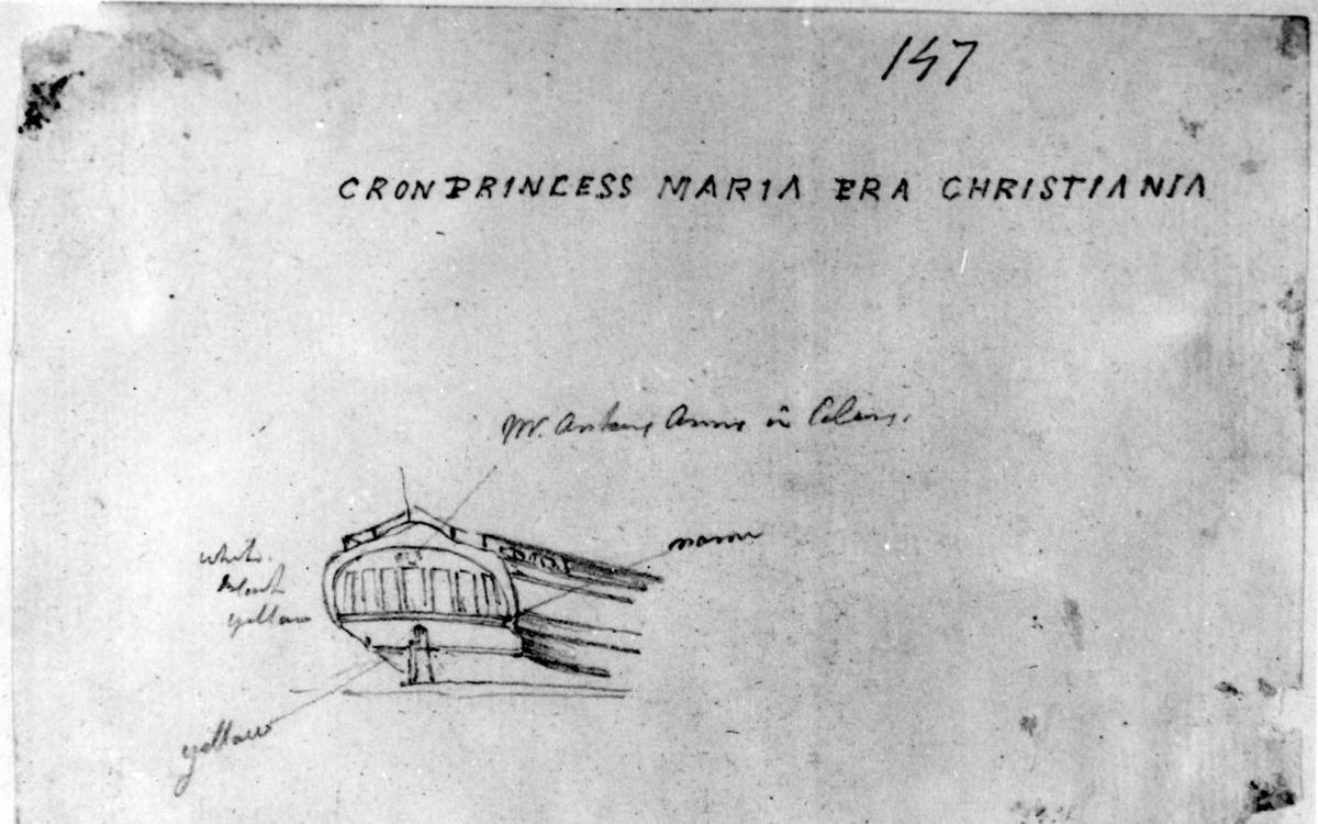 """Hekk på skuteFra skissealbum av John W. Edy, """"Drawings Norway 1800""""."""