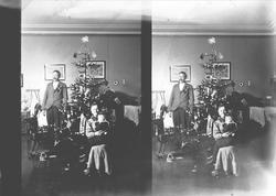 Julefeiring, familie i stue med juletre. Munkedamsveien 3, O