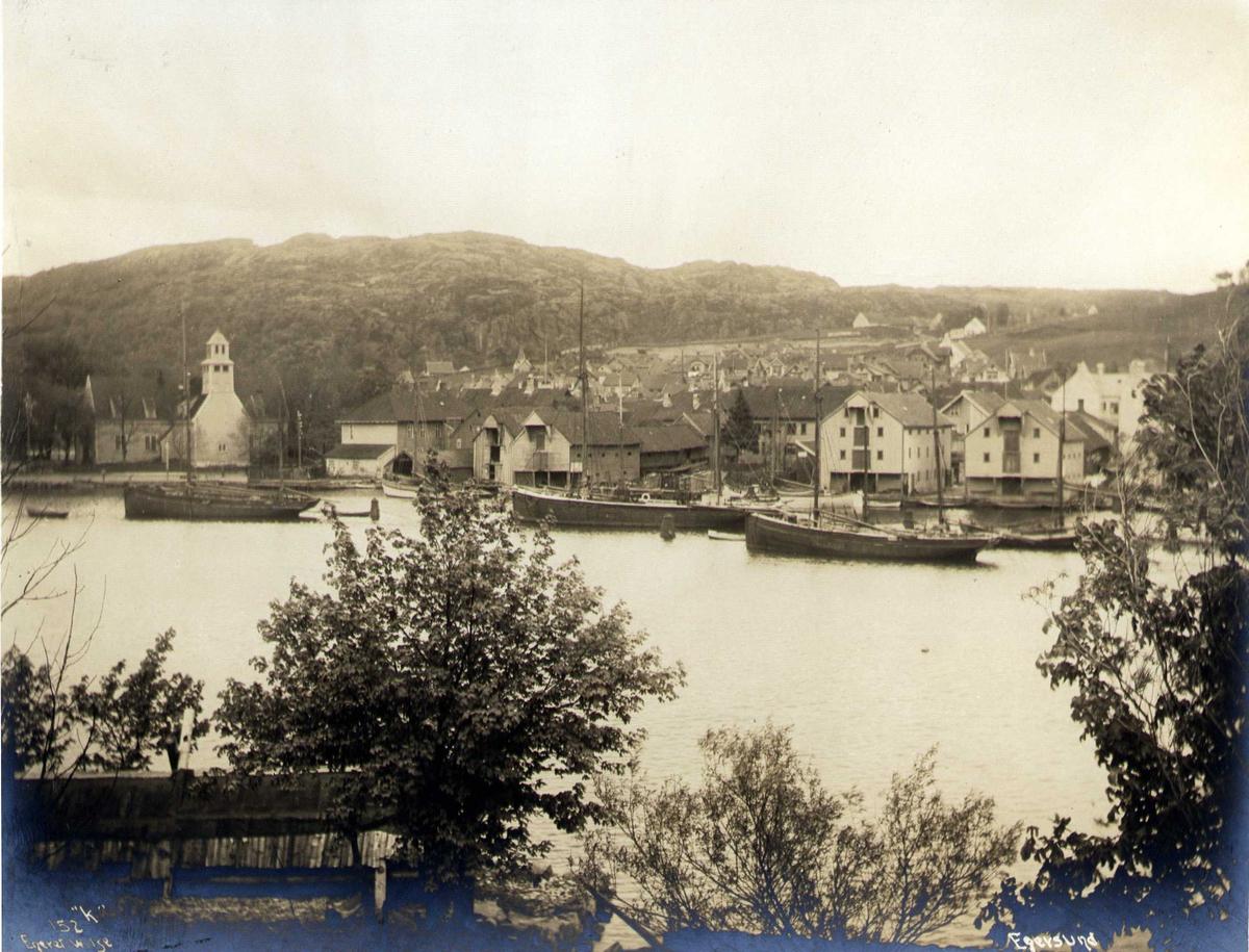 Havneparti, Egersund, Eigersund, Rogaland. Fotografert 1912.