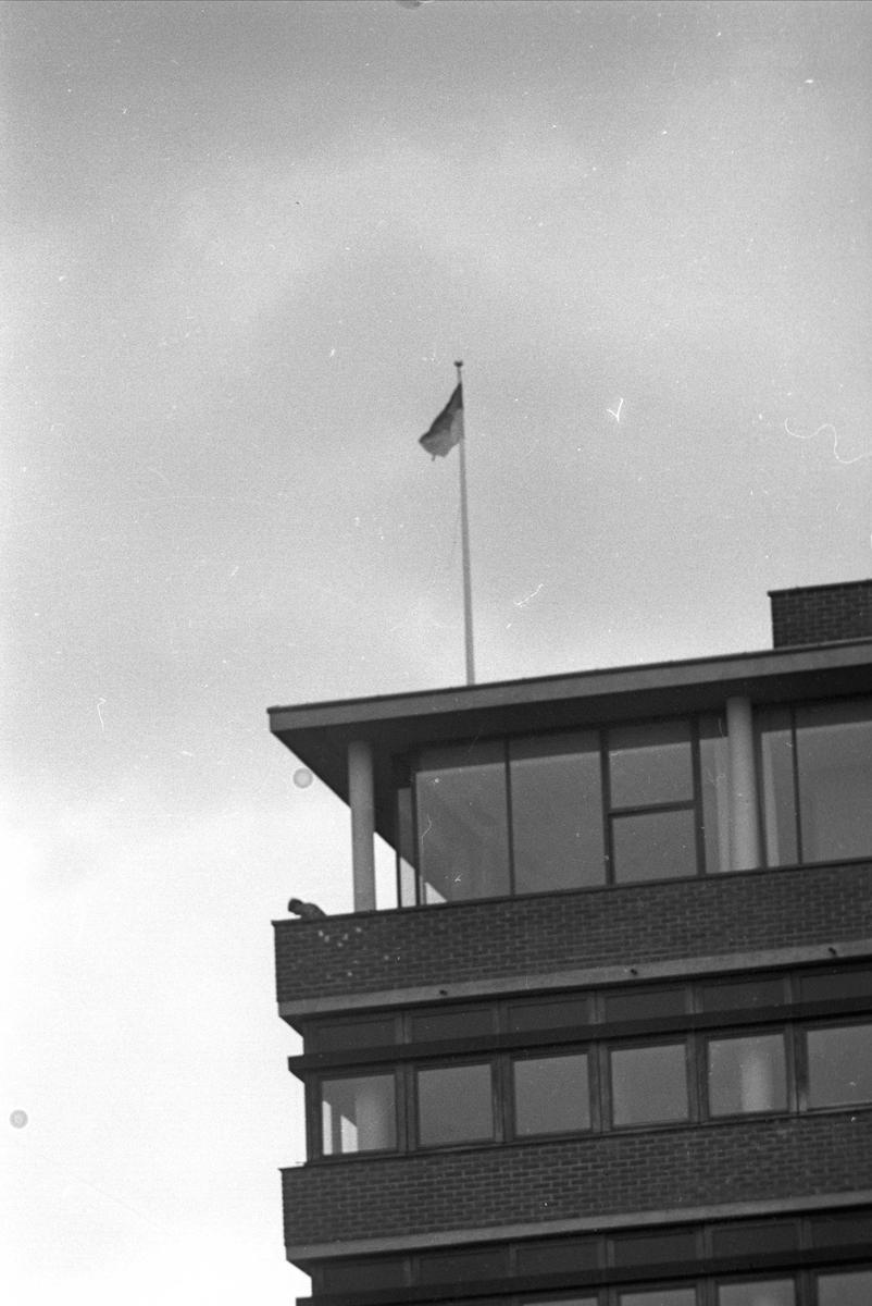 Oslo, april 1969, demonstrasjoner på Blindern, glimt av en av universitetsbygningene.