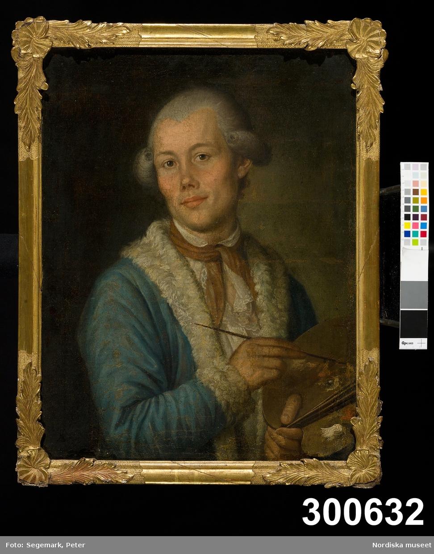 Mansporträtt. Självporträtt med palett.