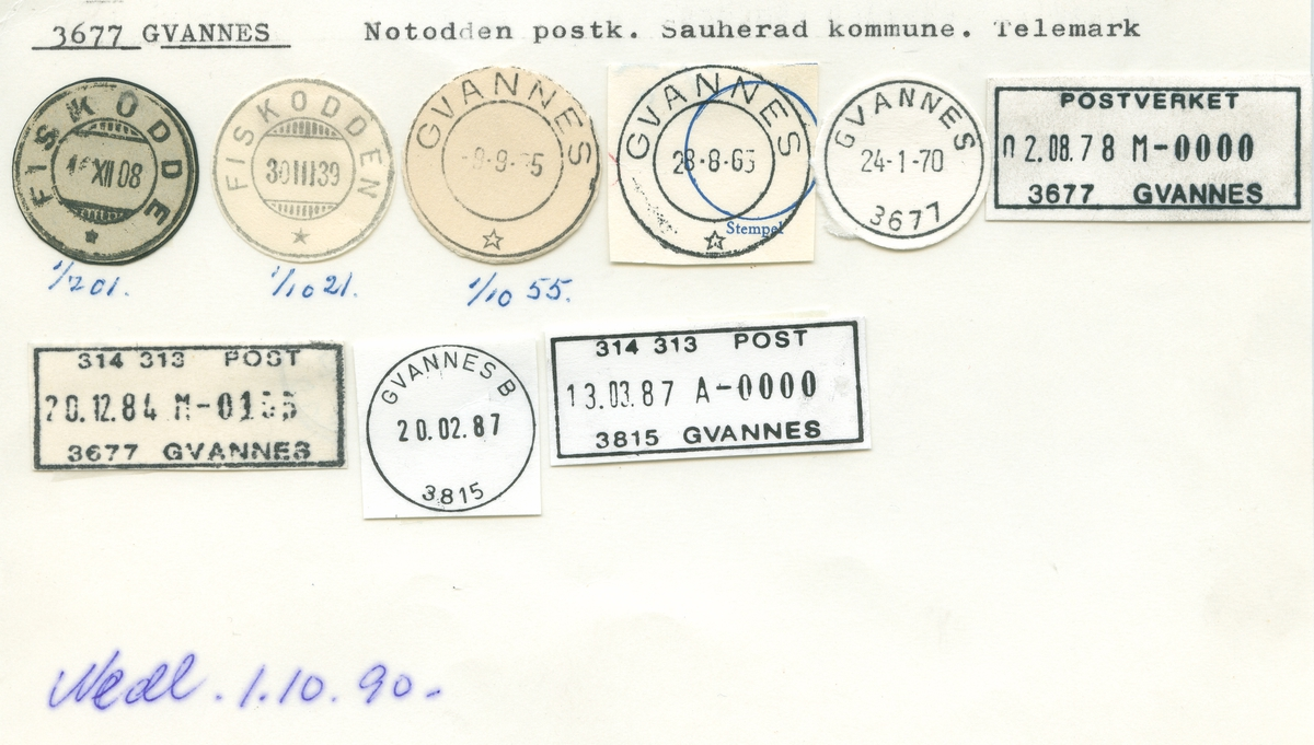 Stempelkatalog 3677 Gvannes (Fiskodde, Fiskodden), Notodden, Sauherad, Telemark