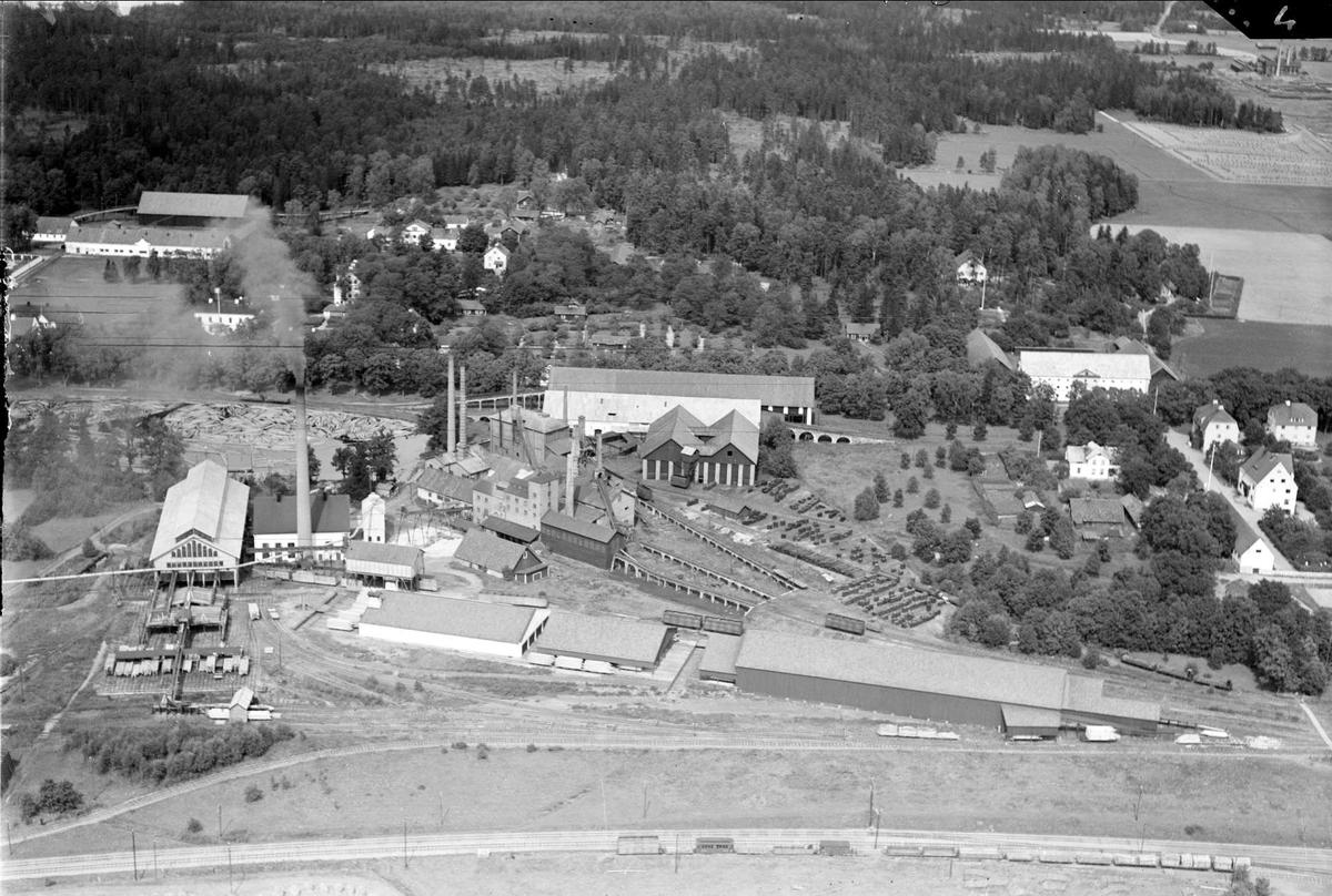 Flygfoto över Gimo bruk, Skäfthammars socken, Uppland 1936