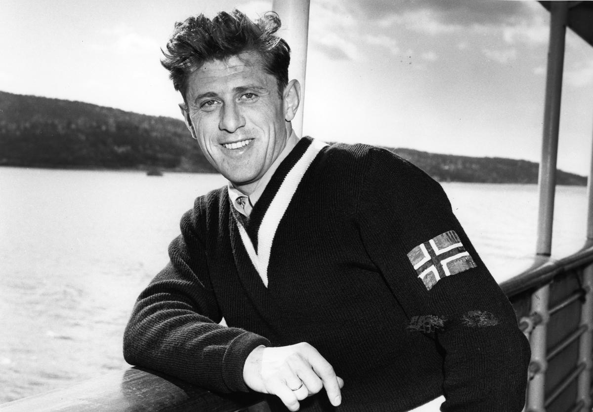 Petter Hugsted på Amerikabåten. Petter Hugsted on a NAL-ship.