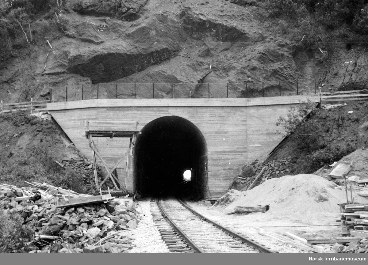 Tunnelportal for Tostenlia tunnel med vegovergang på tunnelportalen