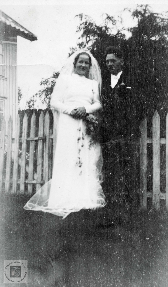 Brudebilde av Alfild og Jakob Ubostad. Grindheim Audnedal.