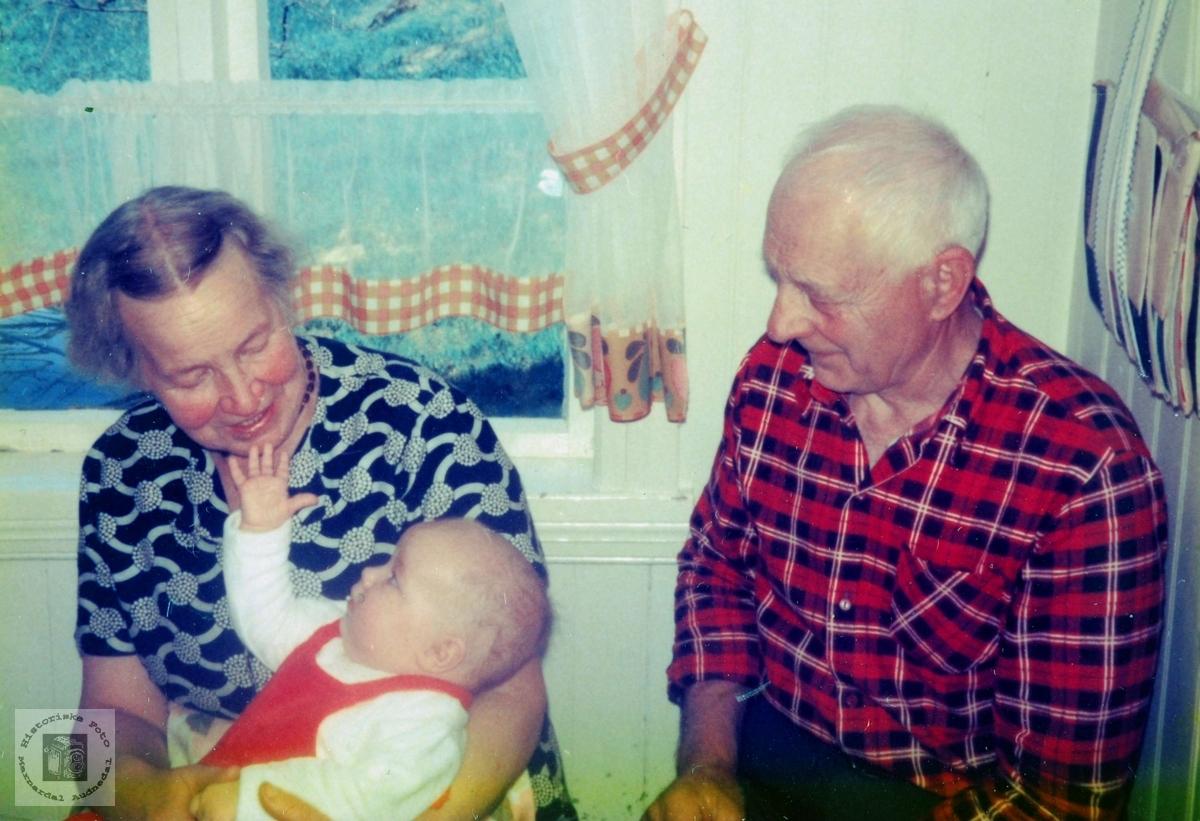Stolte besteforeldre til Bente Ubostad. Grindheim.