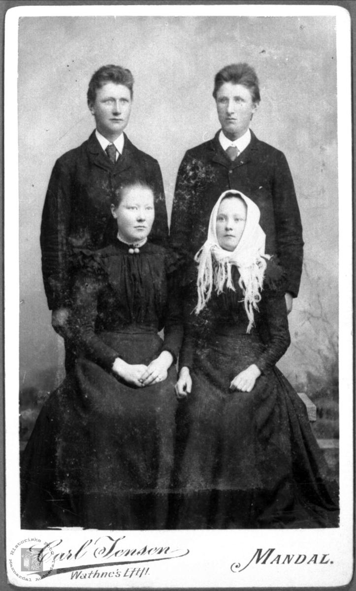 Søsknene Syvert, Ånen, Kristine og Olaug Ågset, Laudal.
