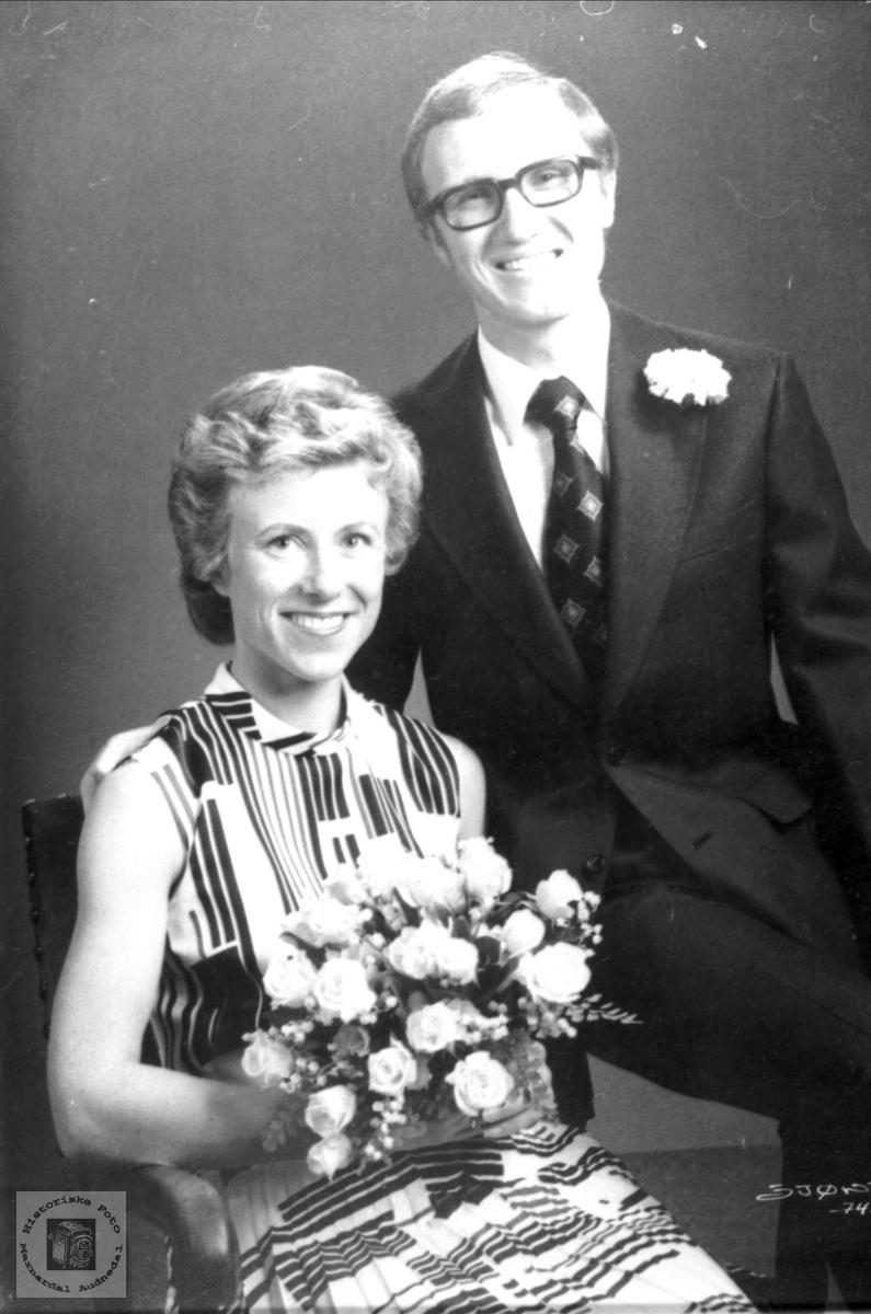 Portrett av brudeparet Gunnar og Brita Bråten.