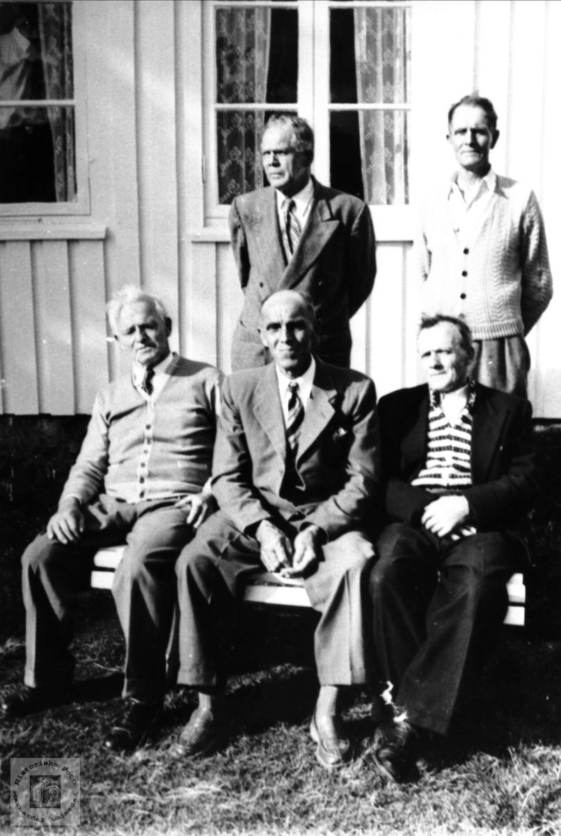 Fem brødre. Gunvald, Arne, Gustav, Oskar og Olaf Bruskeland, Laudal.