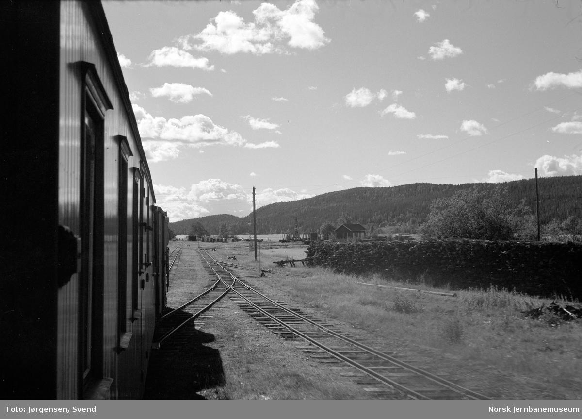 Utsikt fra toget underveis mot Skulerud brygge