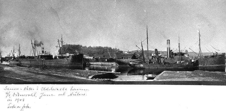 """Text på kortet: """"Sanne-båtar i Uddevalla hamn. s/s Odensvold, Jane och trålare, år 1908. Foto av foto""""."""