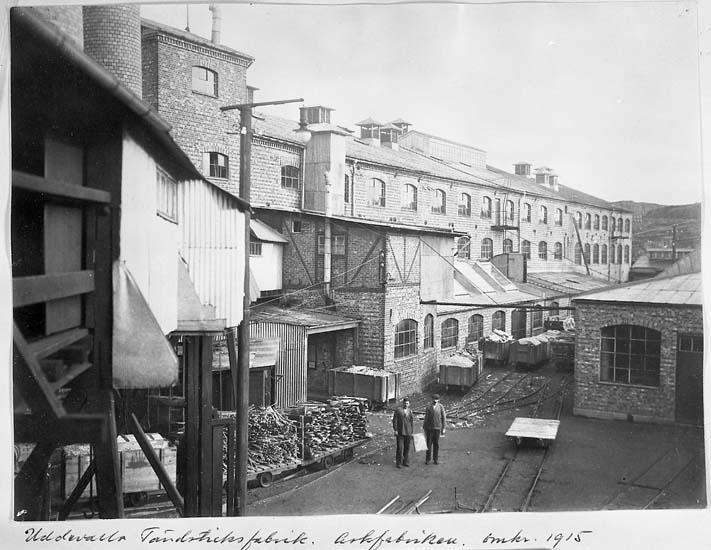 """Text på kortet: """"Uddevalla Tändsticksfabrik. Askfabriken omkr. 1915""""."""