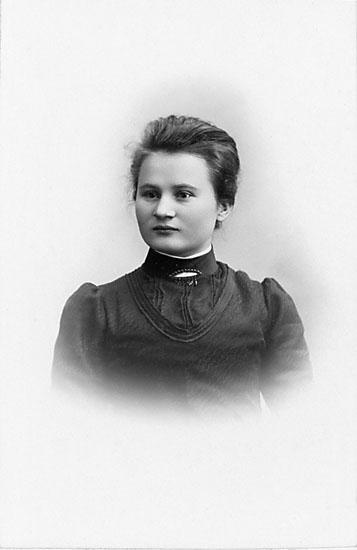 """Stämpel på framsidan: """"Falk, Karlshamn, Filial: Hoby."""" Inpräglar på fotot: """"1902."""""""
