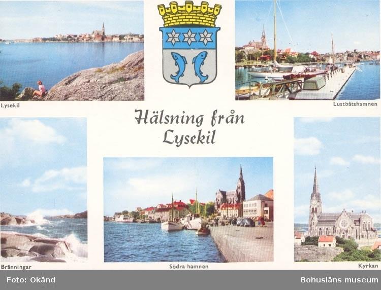 """Tryckt text på kortet: """"Hälsning från Lysekil"""". Text under bilderna: """"Lysekil, Lustbåtshamnen, Bränningar, Södra hamnen, Kyrkan."""" """"9 OKT. 1959"""". """"ULTRAFÖRLAGET A. B. SOLNA""""."""