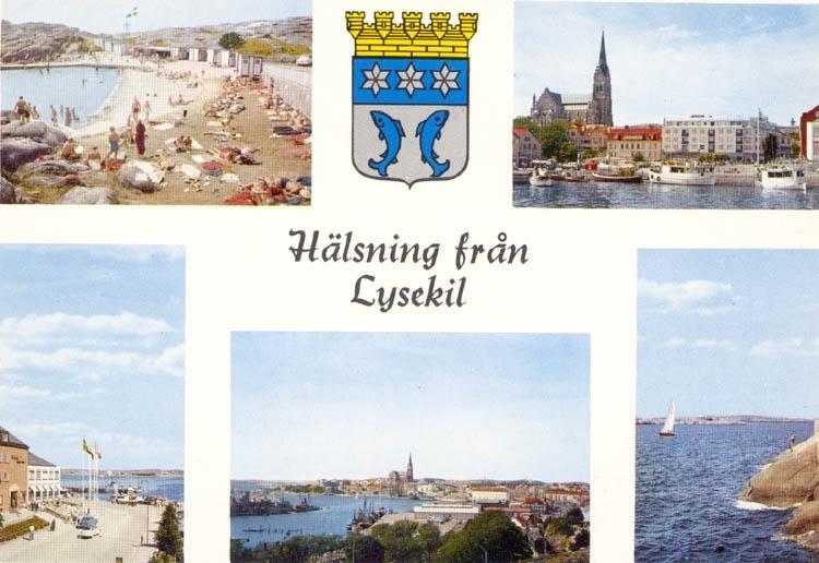 """Tryckt text på kortet: """"Hälsning från Lysekil"""". Text under bilderna. """"Pinneviksbadet, Södra hamnen, Hotell Lysekil, Stångehuvud."""" """"ULTRAFÖRLAGET A. B. SOLNA""""."""