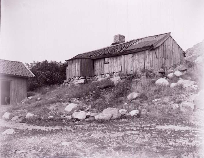 """Enligt text som medföljde bilden: """"Gammal stuga i Åkerbräcka - Gamma Agfa- Plåt, Brons- Kali d.18/7 20."""""""