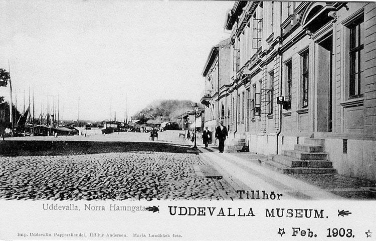 """Tryckt text på vykortets framsida: """"Uddevalla Norra Hamngatan""""."""