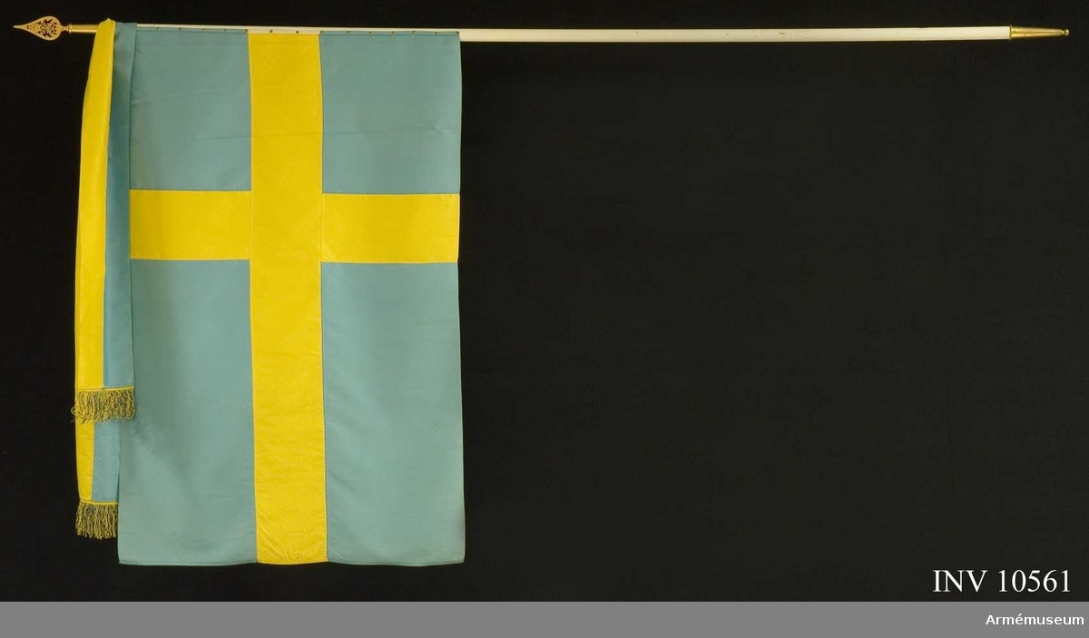 Grupp B I.  Blekblå sidenfana med gult kors. Vitmålad stång på vilken fanduken är fastspikad utan omrullning. Spetsen med Gustav V:s namnchiffer.   Samhörande kravatt, spets och fodral.