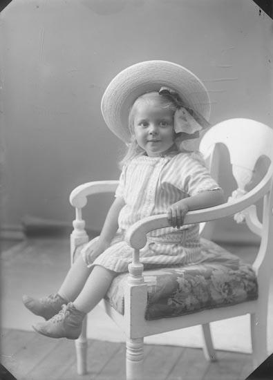 "Enligt fotografens journal nr 2 1909-1915: ""Lauritsen, Fru (flickan)""."