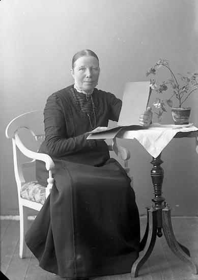 """Enligt fotografens journal nr 4 1918-1922: """"Kristensson, Fru Charlotta Dramersröd Ödsmål""""."""