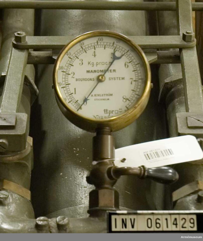 Grupp F I. Manometer till lufttorpedkanon av Unges uppfinning, patent 1893.