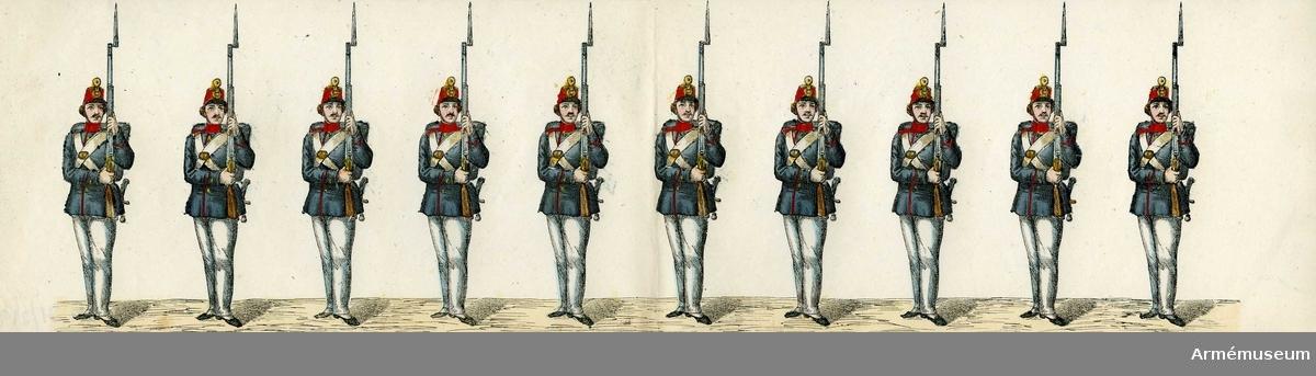"""Grupp M I. Kolorerad litografi föreställande """"Beväringar"""", 4 st  blad med 10 figurer vardera. H. Lederer i Stockholm (1860-69)."""
