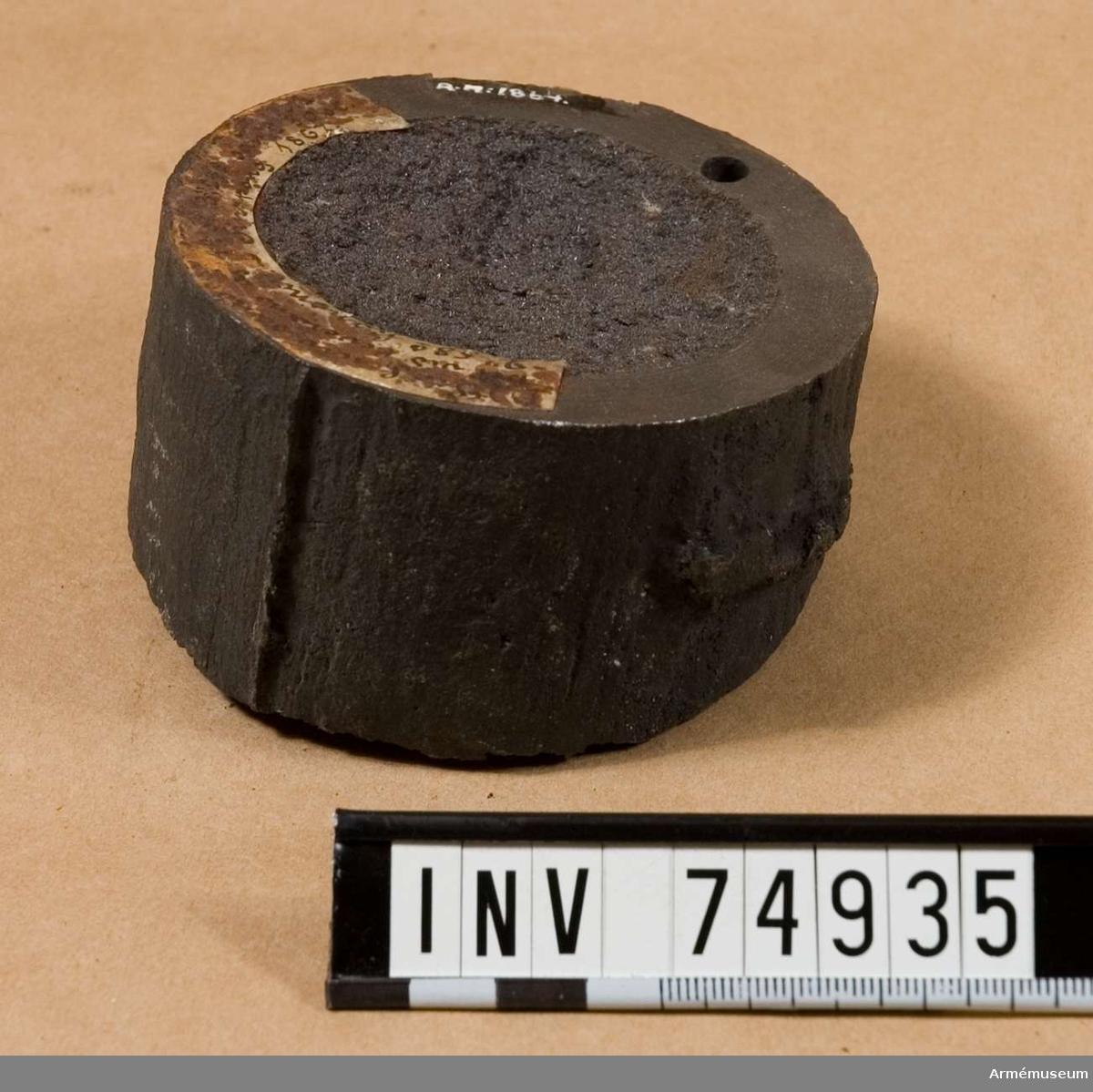 Grupp  F:V. Utvisande järnets minimihårdhet, gällande för 1867. års leverans från Finspongs bruk, såväl av 30 st. 8 cm., som 44. st. 10 cm. framladdningskanoner m/1863.
